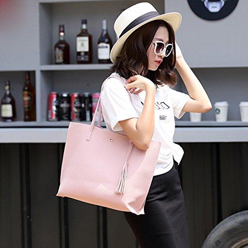 Tote Korean Fashion Shoulder Women's Pink Handbag Bag Capacity Large Style nnqU1Xv