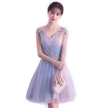 Mobeka Vestido de Fiesta Corto Princesa Estilo Fuera del Hombro Dama de Honor Vestido de Encaje