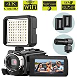 Camcorder, AiTechny 48MP 4K Camcorder WiFi Digital Video Camera, 1080P 60FPS Camera Camcorder, 3.0 Touch Screen IR Night Vision Camcorder With LED Video Light Lamp (4K Camera+MIC+LED