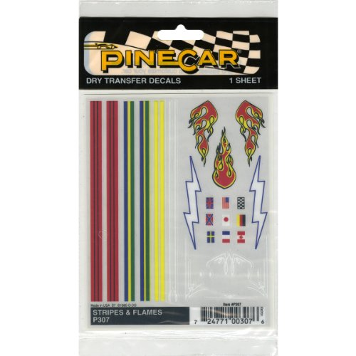 Woodland Scenics P307 Pine Car Derby Dry Transfer Decal 4 by 5-Inch Sheet, Stripes and Flames