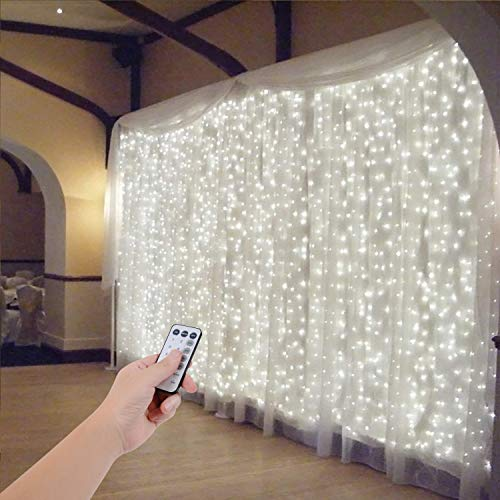 SZXKT 300 LED 9.8FT Connectable Curtain Lights Fairy String Twinkle Lights with 8 Modes for Wedding Party Festival Hotel…