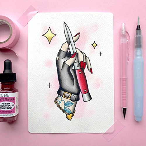 (Don't Tell Me To Smile Feminist Switchblade Punk Rock Watercolor Traditional Tattoo Flash PRINT by Michelle)