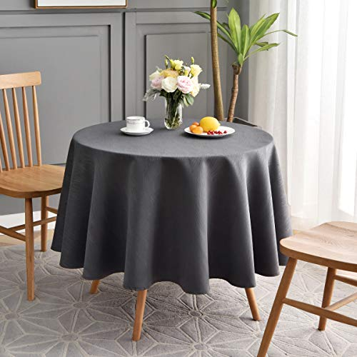maxmill Jacquard Round Table Cloth Swirl Pattern Waterproof Antiwrinkle Heavy Weight Soft Tablecloths for Circular Table Cover and Kitchen Dinning Tabletop Decoration Round 70 Inch Charcoal