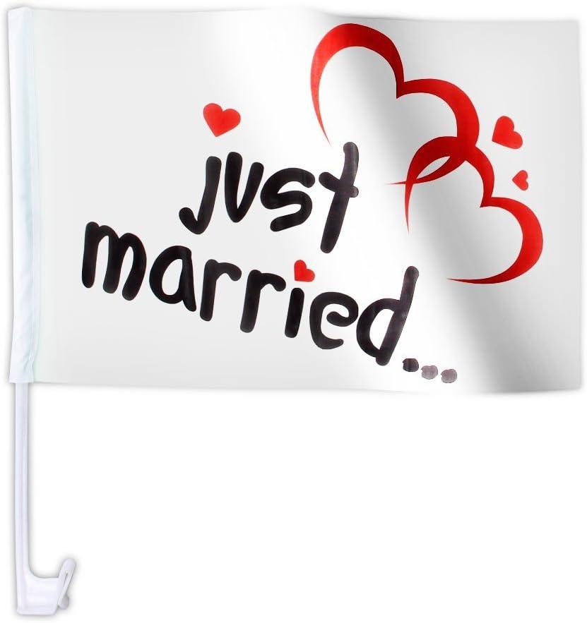 Lot de 20 drapeaux de mariage JUST MARRIED AFL-10 motif double coeur d/écoration cort/ège voiture mari/ès romantique amoureux sympa original d/écorer la voiture dhonneur et balai Clip de fixation sur vitre ou carrosserie