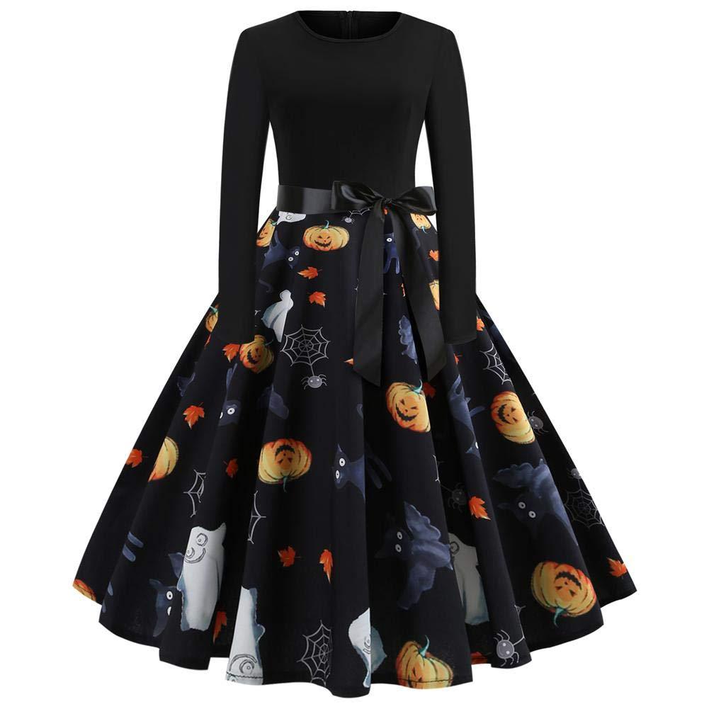 [Halloween Kleid Damen] Herbstkleid Damen Langarm Kleid Rockabilly Kleid mit Kürbis Festlich Kleid Elegant Audrey Hepburn Kleid Partykleid Cocktailkleid