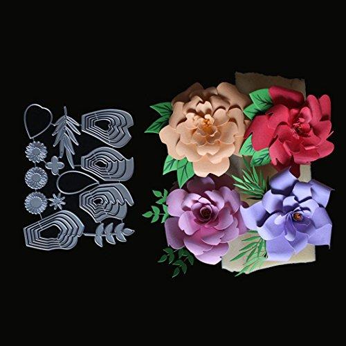 Cutting Dies Stencils Metal,Lavany Metal Dies Cutting Stencil Die-Cuts for Card Making DIY Paper Scrapbooking Album,Silver,Flower Lover (F)