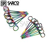 SARCO SET OF 10 MULTI COLOR RAINBOW MOSQUITO HEMOSTAT FORCEPS 5'' STRAIGHT & CURVED STAINLESS STEEL