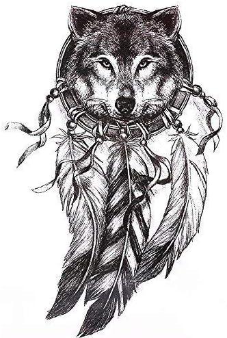 Wolf atrapasueños Tattoo Negro brazo Brazo Tattoo también para ...
