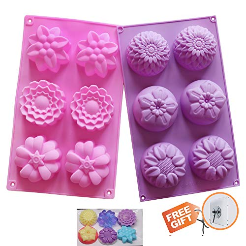 Silicone Molds Flower Soap Mold Candy Molds Chocolate Molds Biscuit Cake Mold Ice Cube Tray Muffin Pan, 6 Cavity Set of 2 Pack