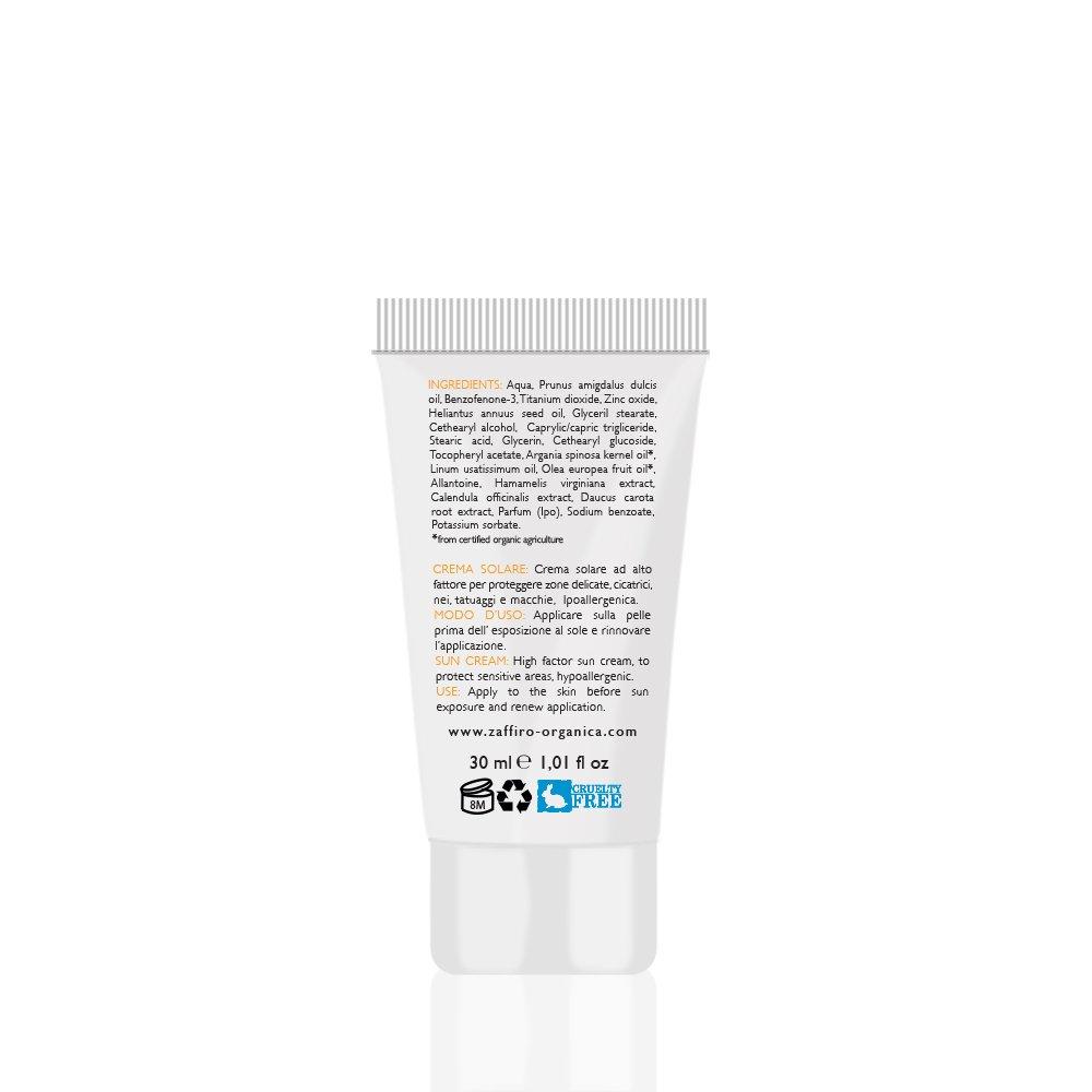 Zaffiro Organica Cosmética Natural - Protector solar Bio 50 SPF para rostro, áreas sensibles y manchas con Caléndula y Aceite de Argán - Hidratante con ...