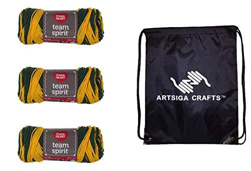 Red Heart Team Spirit Yarn (3-Pack) Green/Gold E797-0948 with 1 Artsiga Crafts Project Bag
