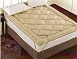 Linenwalas Abstract Polyester Mattress Pad - Queen Size, Gold