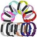 Bands for Fitbit Alta HR and Fitbit Alta,Pack of 12,Adjustable Replacement Accessories Wristband with Metal Buckle Closure and Ring Fastener