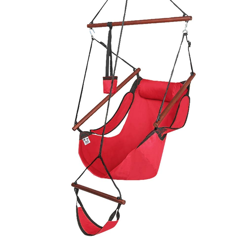 ONCLOUD Upgraded Unique Hammock Hanging Sky Chair, Air Deluxe Swing Seat with Rope Through The Bars Safer Relax with Fuller Pillow and Drink Holder Solid Wood Indoor Outdoor Patio Yard 250LBS Red