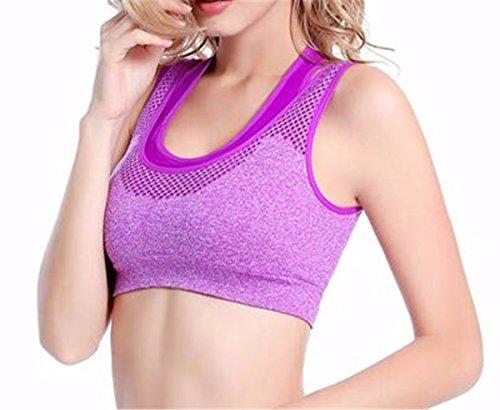 Yall deportes sudar-absorbente chaleco sujetador de la yoga cortos Purple