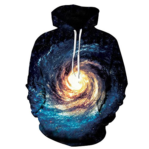 - ZFADDS Space Galaxy 3D Sweatshirts Men/Women Hoodies with Hat Print Stars Nebula Loose Thin Hooded Tops QYDM123 L