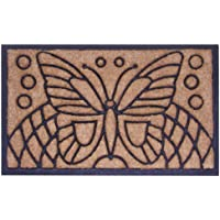 Imports Decor Rubber Back Coir Doormat, Butterfly, 18-Inch by 30-Inch