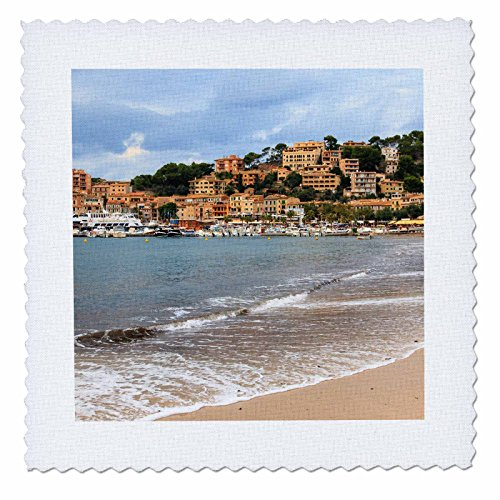 3dRose Danita Delimont - Cities - Spain, Balearic Islands, Mallorca, Port of Soller historic waterfront - 14x14 inch quilt square (qs_277908_5) by 3dRose