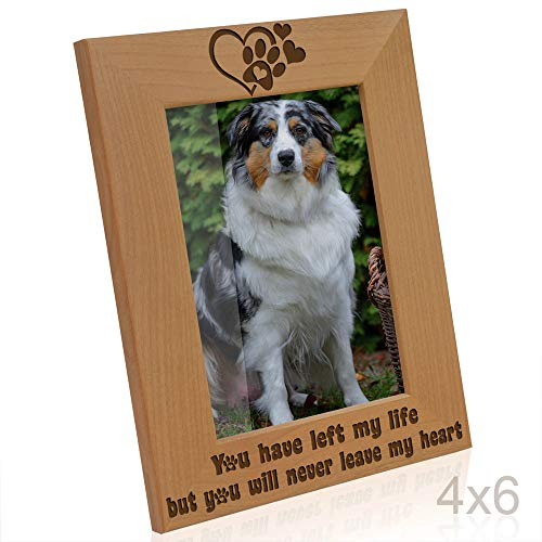 Kate Posh You Have Left My Life, but You Will Never Leave My Heart Natural Wood Engraved Picture Frame, Paw Prints on My Heart Memorial Gifts for Cat or Dog, -