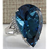 Jewelryongying11 Large Blue Sapphire Ring Women 925 Silver Wedding Engagement Jewelry (7)