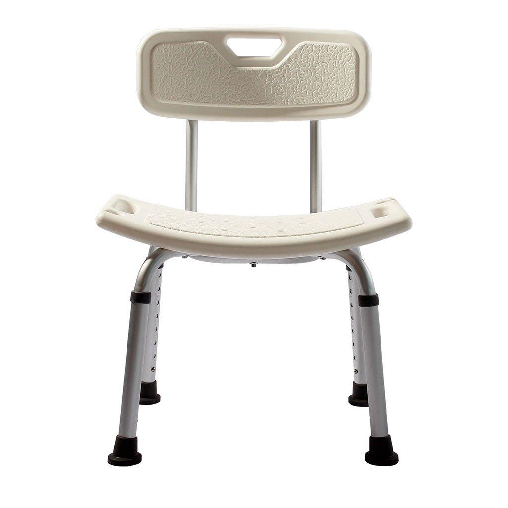 LI JING SHOP - Sedia da doccia pieghevole pieghevole con schienale regolabile in altezza antiscivolo con supporto posteriore e soffione per doccia 47X41X74CM