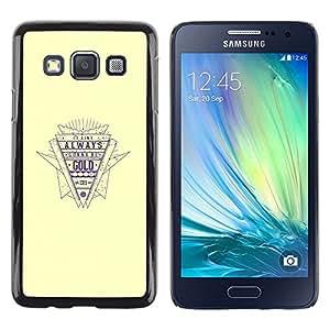 TopCaseStore / la caja del caucho duro de la cubierta de protección de la piel - Gold Quote Retro Style Slogan Life Success - Samsung Galaxy A3 SM-A300