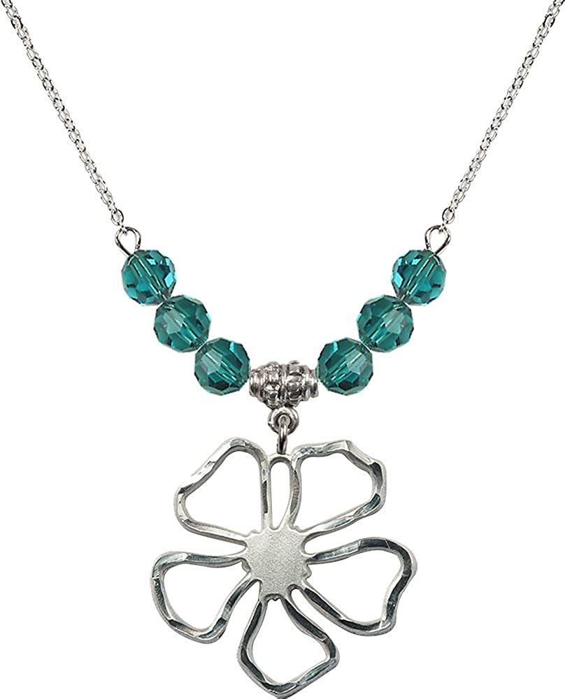 18-Inch Rhodium Plated Necklace with 6mm Zircon Birthstone Beads and Sterling Silver Five Pedal Flower Charm.