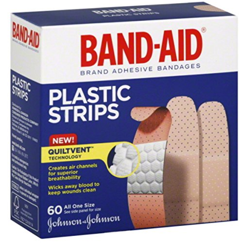 BAND-AID Plastic Strips All One Size 60 Each (Pack of 5) (Aid Strips Plastic Band)