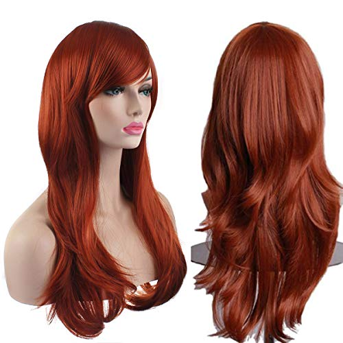 AKStore Women's Heat Resistant 28-Inch 70cm Long Curly Hair Wig with Wig Cap, Brown]()