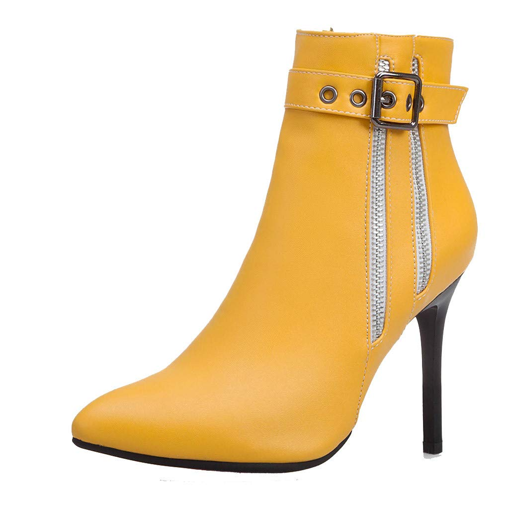 Dermanony Women's High Heel Boots Fashion Pointed Buckle Zipper Leather Boots Waterproof Platform Thin Heel Ankle Boots Yellow by Dermanony _Shoes