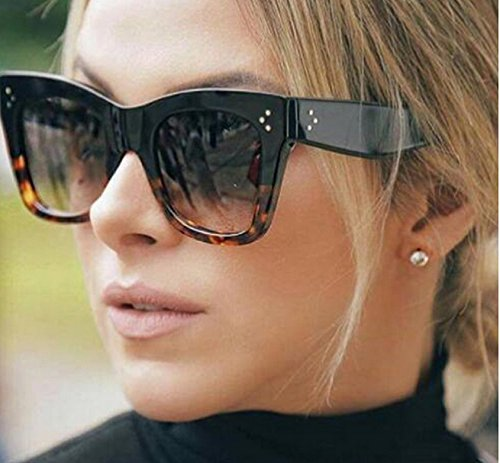 Newest 2017 Fashion Square Sunglasses Women Cat Eye Big Black Leopard Smoke (For Sunglasses Square Women)