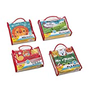 Melissa & Doug Soft Activity Book 4 Pack Wild Animals, Firefighter Fred to The Rescue, Mix & Match, Whose'? Baby Toy