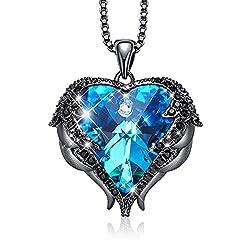 Pendant With Embellished Dark Blue Crystal from Swarovski