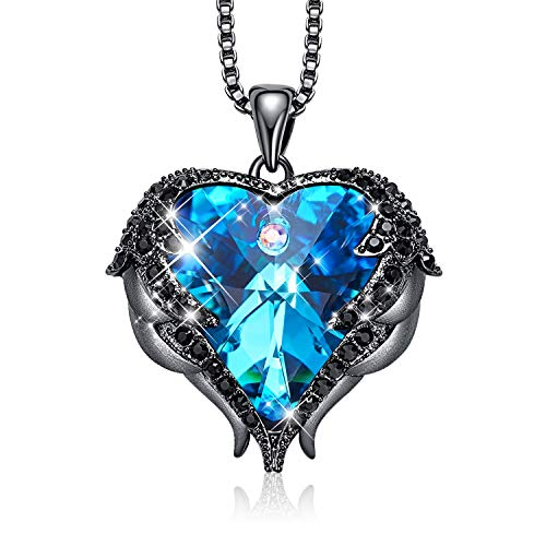 - CDE Angel Wing Mothers Day Necklaces for Women Embellished with Crystals from Swarovski Pendant Necklace Heart of Ocean Jewelry Gift for Mom