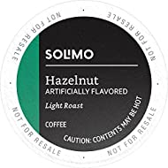 Amazon Brand - 100 Ct. Solimo Light Roast Coffee K-Cup Pods, Hazelnut Flavored, Compatible with 2.0 K-Cup Brewers