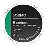 Amazon Brand - 100 Ct. Solimo Light Roast Coffee Pods, Hazelnut Flavored, Compatible with 2.0 K-Cup Brewers
