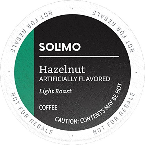 Amazon Brand – 100 Ct. Solimo Light Roast Coffee Pods, Hazelnut Flavored, Compatible with 2.0 K-Cup Brewers