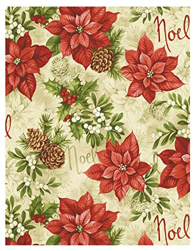 inter Poinsettia Christmas Print Vinyl Flannel Backed Tablecloth by, Noel and Holly Berry Xmas Tablecloth, (70 Inch Round) ()