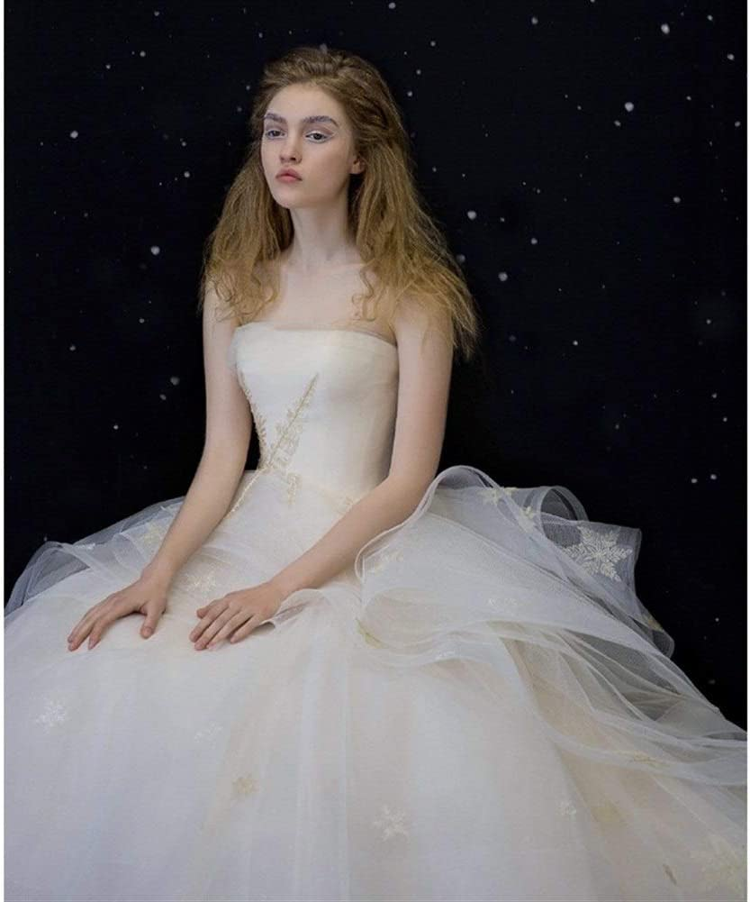 KUANGQIANWEI Vestido de Novia con Encaje Femenina De La Fantasía De Arrastre Novia Sujetador Qi Sen Departamento De Novia Hepburn Vestido de Novia con Cola (Color : No Tailing, Size : XXL)