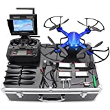 Potensic Drone with HD Camera, F181DH RC Drone Quadcopter RTF Altitude Hold UFO with Stepless-speed Function, 2MP Camera& 5.8Ghz FPV LCD Screen Monitor & Drone Carrying Case - Blue