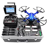 Potensic-Drone-with-HD-Camera-F181DH-RC-Drone-Quadcopter-RTF-Altitude-Hold-UFO-with-Stepless-speed-Function-2MP-Camera-58Ghz-FPV-LCD-Screen-Monitor-Drone-Carrying-Case-Blue