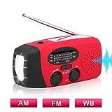 AM/FM NOAA Weather Radio Solar Hand Crank Emergency Radio with 3 LED Flashlight, 1000mAh Power Bank Phone Charger