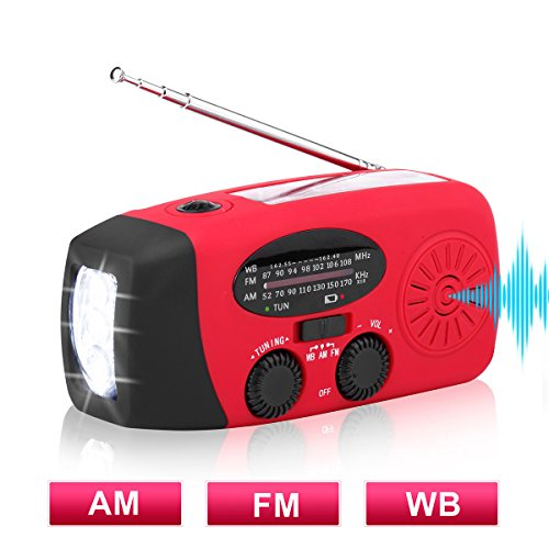 AM/FM NOAA Weather Radio Solar Hand Crank Emergency Radio with 3 LED Flashlight, 1000mAh Power Bank Phone Charger by Leaton