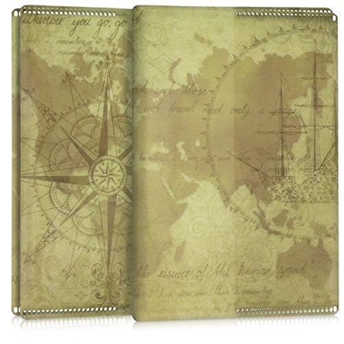 Marrón Funda Transparente Claro Forro Vintage Pasaporte Protectora Kwmobile de Para Mapamundi 5x Protector En Yqg7waZn