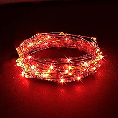 RTGS 30 LEDs String Lights Batteries Operated on 10 Feet Long Silver Color Wire, Indoor and Outdoor with Waterproof Batteries Box and Timer