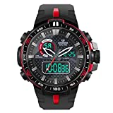 HIwatch Boys' Sports Watch Outdoor Waterproof Military Quartz Digital Watch Date Multi Function LED Alarm Compass Stopwatch, Red