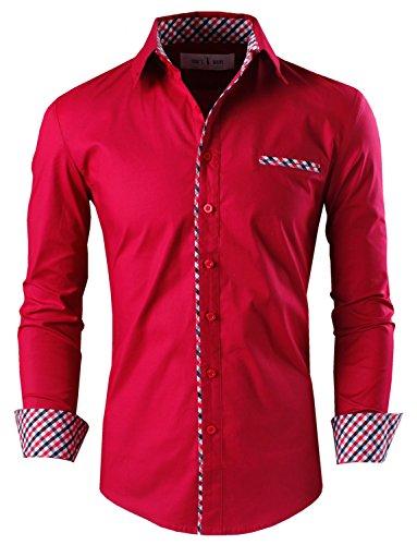 Tom's Ware Mens Premium Casual Inner Contrast Dress Shirt TWNMS310S-1-WINE-3XL