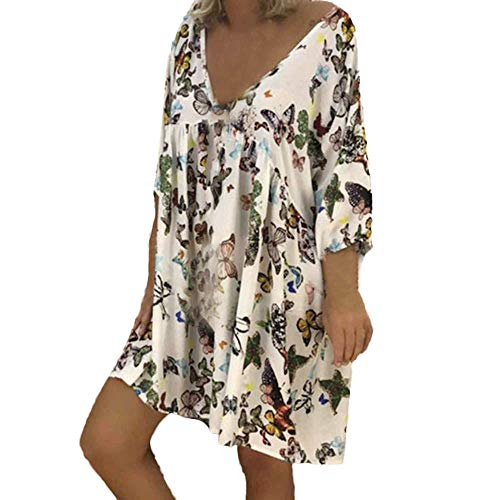 kaifongfu Long Sleeve Women's V-Neck Hem Dress Ladies Long Dress(White,XXXXL)