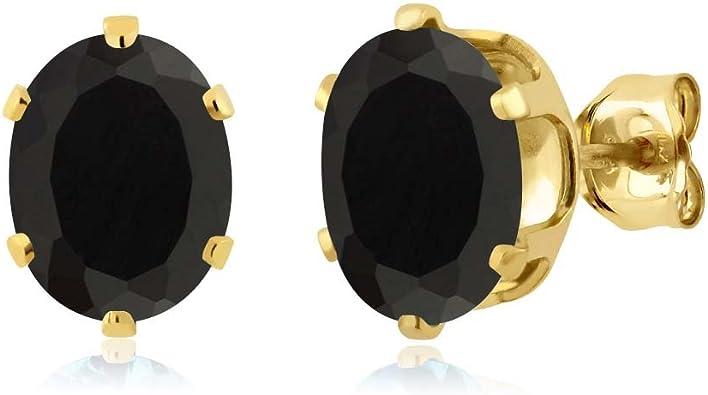 Black Onyx Gemstone Womens Stud Earrings 18k Gold Plated Brass Fashion Jewelry