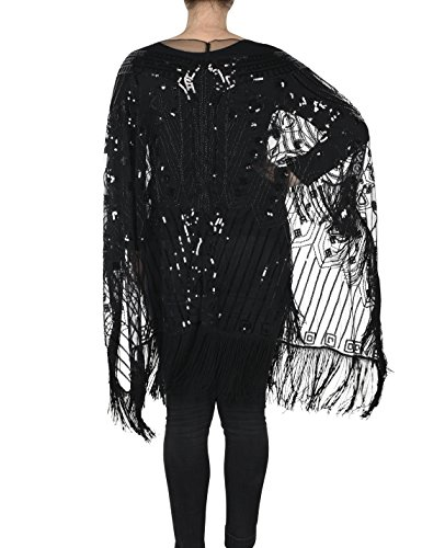 PrettyGuide Women's 1920s Shawl Beaded Evening Wrap Open Front Fringed Cape Black
